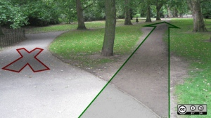 Discovering desire lines: How to break down barriers and let paths emerge Found at this URL: https://www.flickr.com/photos/opensourceway/5266562758/
